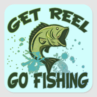 Get Reel Go Fishing Square Sticker
