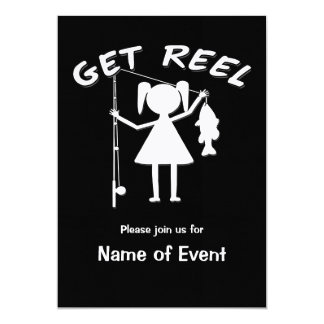 Get Reel - Little Girls Fishing 5x7 Paper Invitation Card