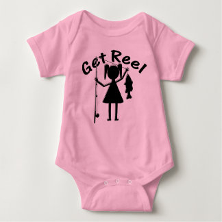 Get Reel - Little Girls Fishing Baby Bodysuit