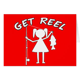 Get Reel - Little Girls Fishing Stationery Note Card