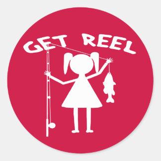 Get Reel - Little Girls Fishing Classic Round Sticker