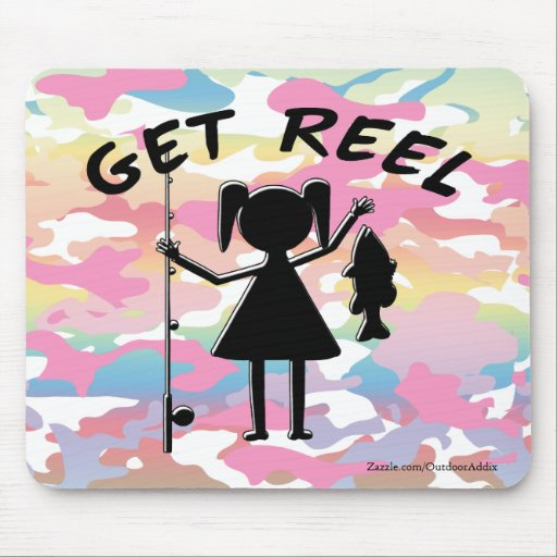 Get Reel - Little Girls Fishing Mouse Pads