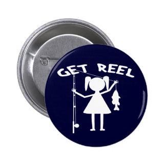 Get Reel - Little Girls Fishing Pinback Button