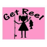 Get Reel - Little Girls Fishing Postcard