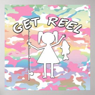 Get Reel - Little Girls Fishing Poster