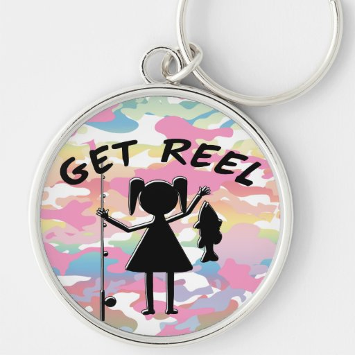 Get Reel - Little Girls Fishing Silver-Colored Round Keychain