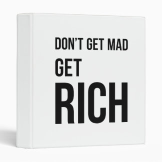 Get Rich Business Quote Inspirational Black White Binder