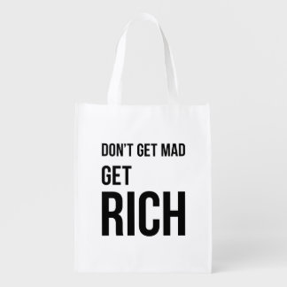 Get Rich Business Quote Inspirational Black White Reusable Grocery Bags