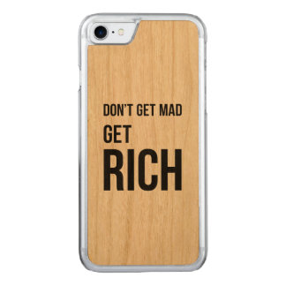 Get Rich Business Success Quote Black White Carved iPhone 7 Case
