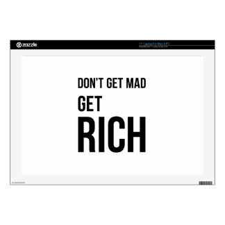 """Get Rich Business Success Quote Black White Decal For 17"""" Laptop"""