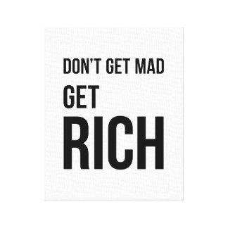 Get Rich Funny Business Motivation Black White Canvas Print