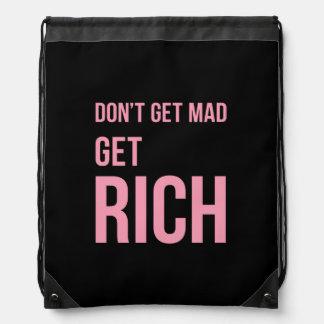 Get Rich Money Quote Inspirational Pink Black Drawstring Bag