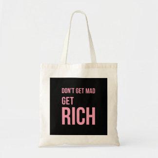 Get Rich Money Quotes Inspiring Pink Black Tote Bag