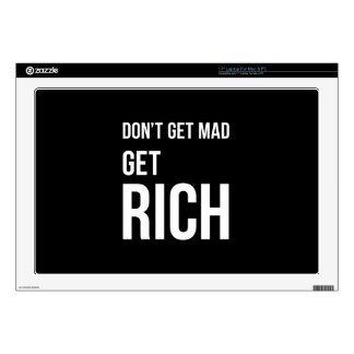 """Get Rich Success Motivational Quote White on Black Decal For 17"""" Laptop"""
