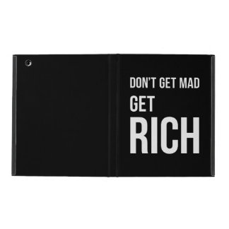 Get Rich Success Motivational Quote White on Black iPad Folio Case