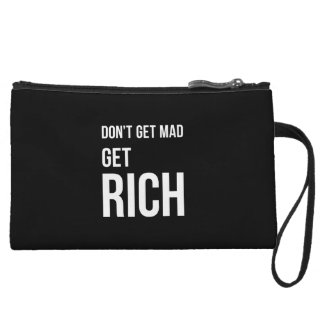 Get Rich Success Motivational Quote White on Black Wristlet