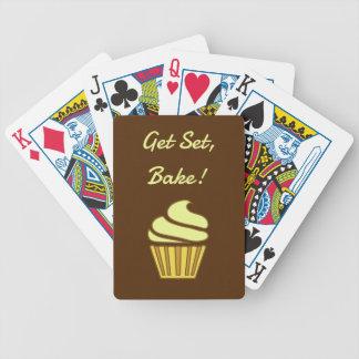 Get set bake gold cupcake bicycle playing cards