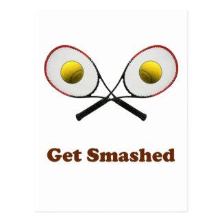 Get Smashed Tennis Postcard