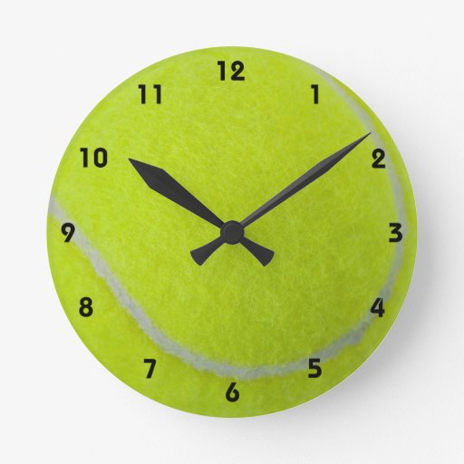 Get Sporty_Tennis_Fuzzy Ball Design (with numbers) Round Clock