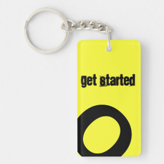 Get Started Double-Sided Rectangular Acrylic Keychain