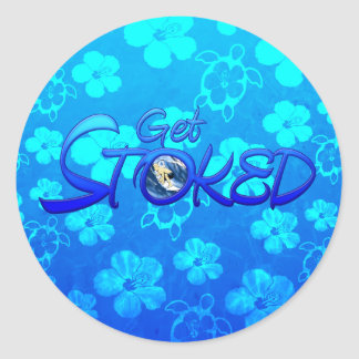Get Stoked Hawaiian Surfing Round Stickers