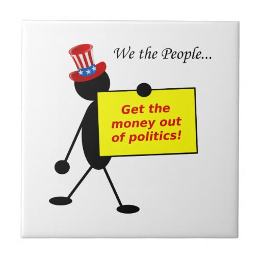 Get The Money Out of Politics Small Square Tile
