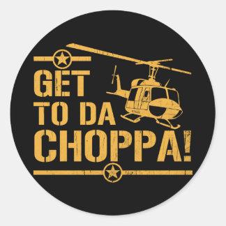 Get To Da Choppa Vintage Classic Round Sticker