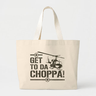 Get To Da Choppa Vintage Large Tote Bag