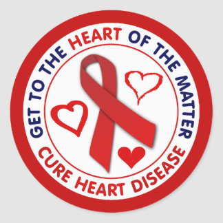 Get To The Heart of the Matter, Cure Heart Disease Classic Round Sticker
