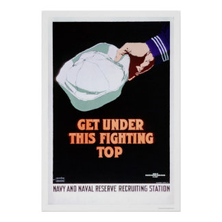 Get Under this Fighting Top - Navy (US02296) Poster