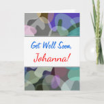 [ Thumbnail: Get Well + Abstract Multicolored Blotch Pattern Card ]