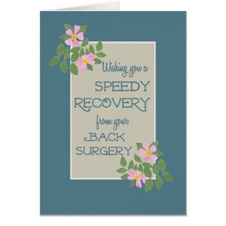Get Well, Back Surgery Card, Pink Dogroses, Blue Greeting Card