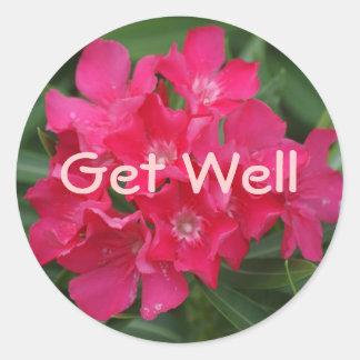 Get Well, Bright Flowers Classic Round Sticker