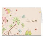 Get Well - Butterflies Flowers Stars Card