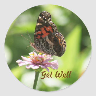 Get Well, butterfly, zinnia on a Sticker. Classic Round Sticker