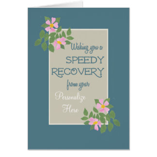 Get Well Card to Personalize, Pink Dogroses, Blue Card