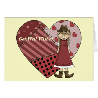 Get Well Cowgirl Patchwork Heart Card - Western