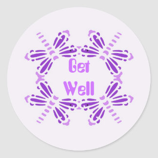 Get Well, dragonflies in purple & mauve Classic Round Sticker