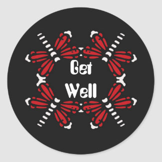 Get Well, dragonflies in red & white on black Classic Round Sticker