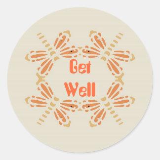 Get Well, dragonflies orange & tan Classic Round Sticker