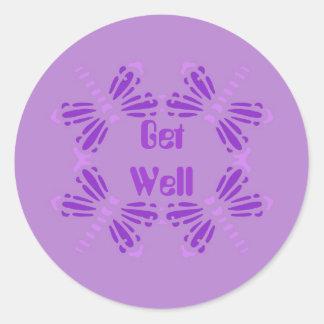 Get Well, dragonflies,purple, pink & mauve Classic Round Sticker