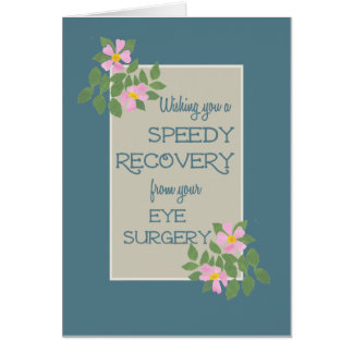 Get Well, Eye Surgery Card, Pink Dogroses, Blue Cards