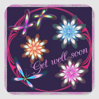 Get well floral square stickers