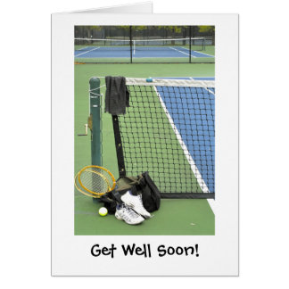 Get well for tennis player greeting card