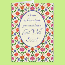 Get Well from Accident Card, Rangoli Flowers Card