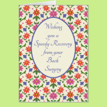 Get Well from Back Surgery Card, Rangoli Flowers Card