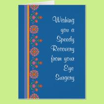 Get Well from Eye Surgery Rangoli Border, Blue Card