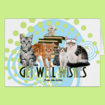 Get Well from Group Cute Cats as Doctors and Nurse Card