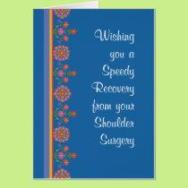 Get Well from Shoulder Surgery Rangoli Border Blue Card