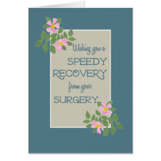 Get Well from Surgery Card, Pink Dogroses, Blue Card